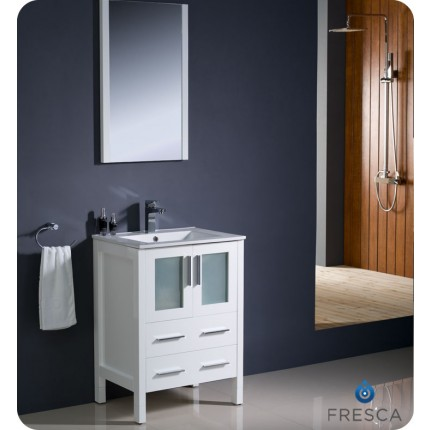 "Fresca Torino 24"" White Modern Bathroom Vanity w/ Integrated Sink"